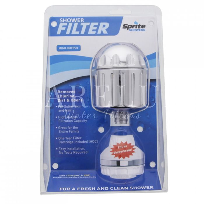 SPRITE HIGH-OUTPUT CHROME SHOWER HEAD AND WATER FILTER Remove Chlorine and odors