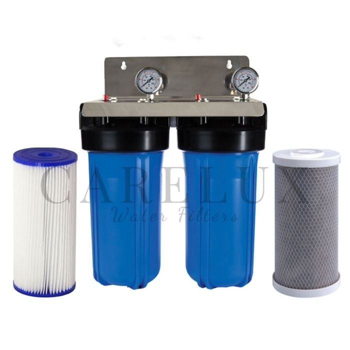 Big Blue Twin Whole House Water Filter System 10 X 4