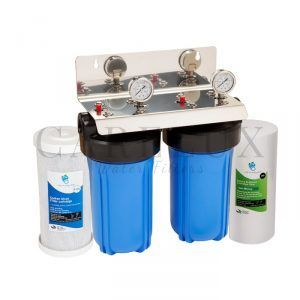 "Big Blue 3/4"" Port Twin Whole House Water Filter System"