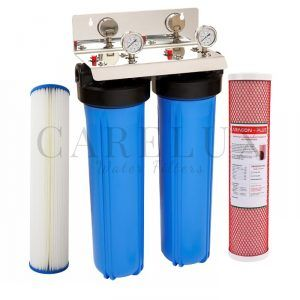"Twin Whole House Water Filter System Big Blue with 3/4"" Port"
