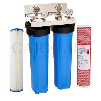"""Twin Whole House Water Filter System Big Blue with 3/4"""" Port"""