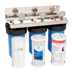 """Big Blue Triple Whole House Water Filter System, 10"""" x 4.5"""", with 3-Stages"""